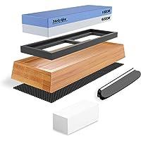 Meiyijia - Slipsten, Premium Whetstone Waterstone Knivsliparsats, Halkfri bambubas, 2 sidokorn (1000/600/set)