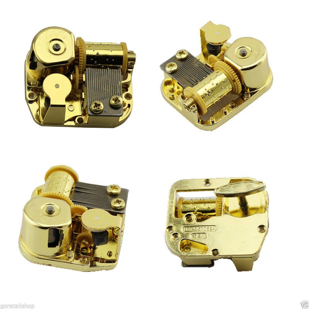 Youtang 18 Note Windup Gold Plating Clockwork Mechanism DIY Music Box Movement,Tune:Moon River