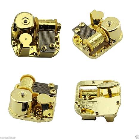 Laxury 18 Note Windup mecanismo de chapado en oro diseño DIY caja de música movimiento,