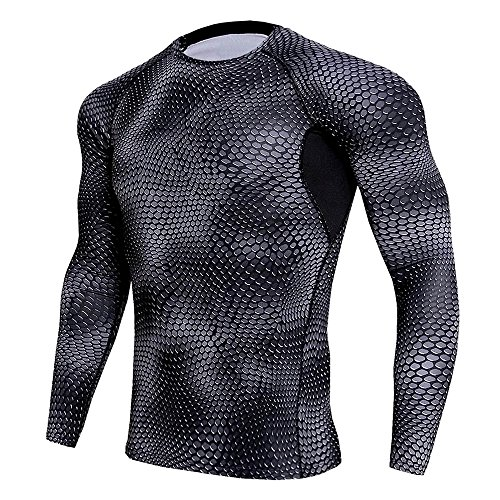 CANGHPGIN Men Sports Tights Personality Tops Long Sleeve T-Shirt Fashion UV Sun Protection Casual Pullover (Black-Round, Large) from CANGHPGIN