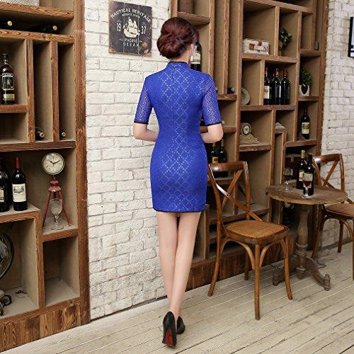 Style avec de Fendu Qipao Couleurs Cheongsam Femme Chinoise en 3 Robe ACVIP Manche Soire Dentelle Courte Courte Bleu Devant 1XwFz