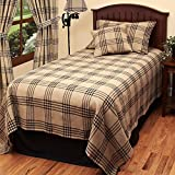 Home Collection by Raghu Chesterfield Check Oat & Black Queen Bedcover, 94'' x 104''