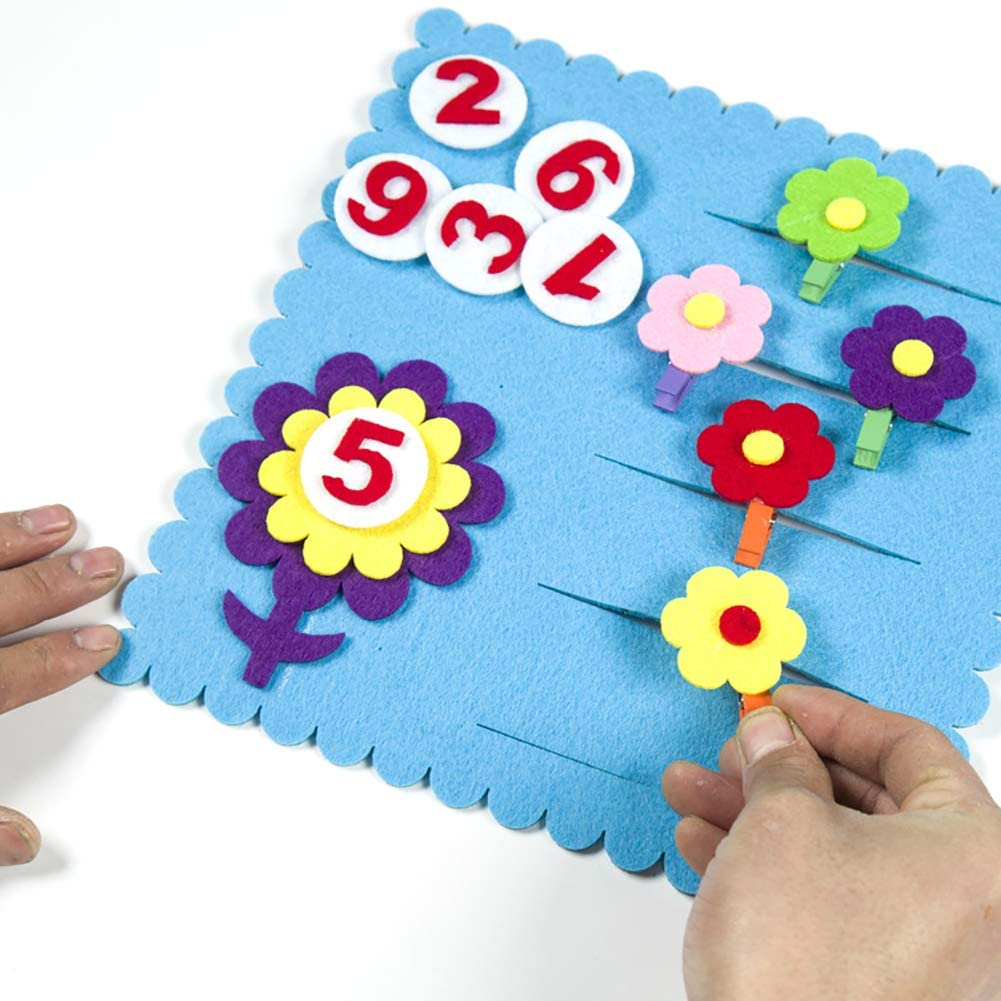 DSstyles Toddler /& Preschool Board Game,DIY Tree Learn Identify Number Nonwovens Materials Math Learning Tool Digital Carrot