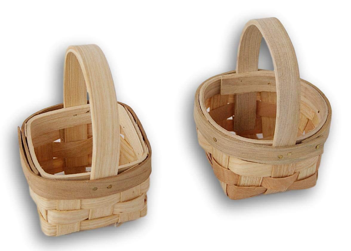 Craft Supply Small Wood 3 Basket Easter Wedding Favor Set of 2