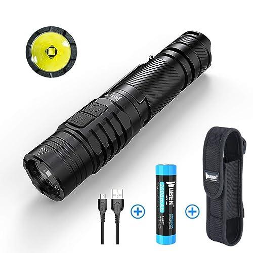 Linternas LED Alta Potencia WUBEN TO40R Recargable USB 1200LM CREE XPL V6 Linterna Tactica Militar Resistente al Agua Interruptor Doble Pequeñas Linterna de Mano 7 modos con Batería 18650
