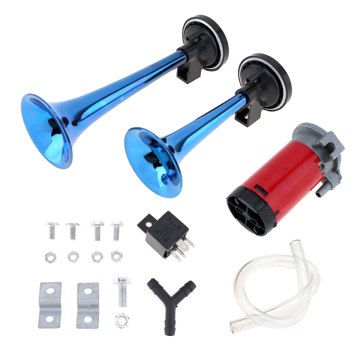 Bleu Ensemble de compresseurs /à trompettes pour un klaxon pneumatique /à deux tonalit/és de 178 db Pour motos camions voitures bateaux
