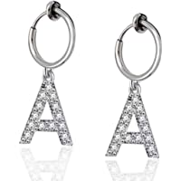 Lanxy Initial Letter A Clip On Earrings Silver Tone 0.5IN(13mm) Stainless Hoop Earrings Alphabet Clip On Earrings for Women Girls No Piercing