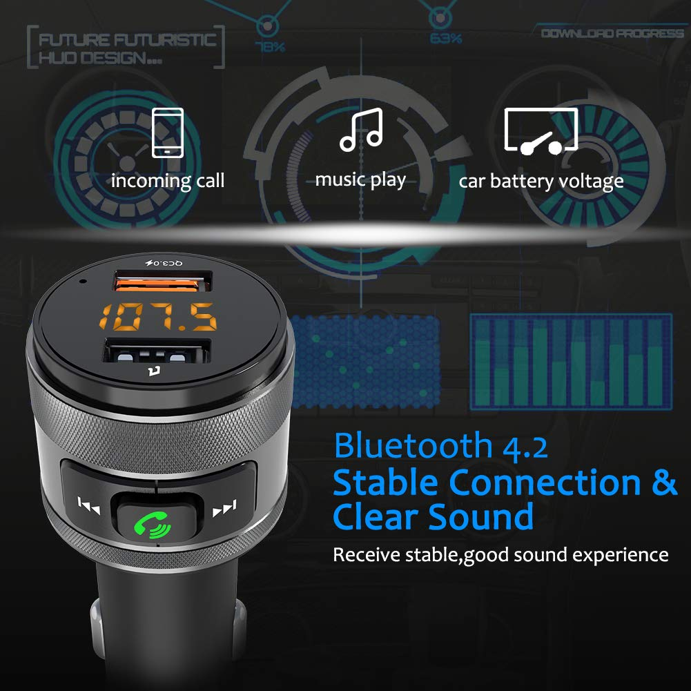 Bluetooth Fm Transmitter Car Charger Acenx Wireless Circuit With High Frequency Stability Free Electronic Radio Adapter Kit Hands Calling And Dual Usb