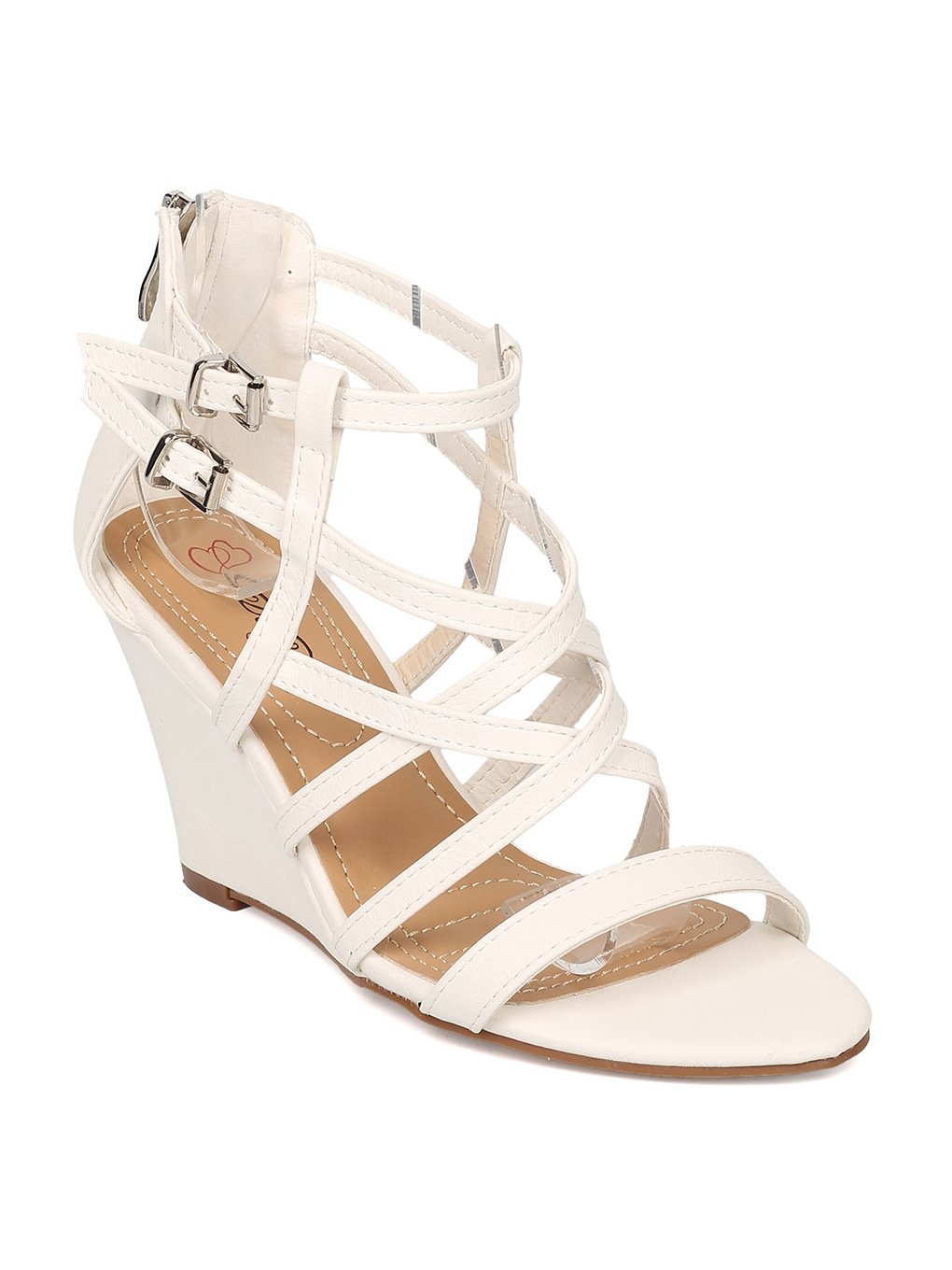 Alrisco Women Leatherette Open Toe Strappy Wedge Sandal HB27 B071FVXV92 10 M US|White Leatherette