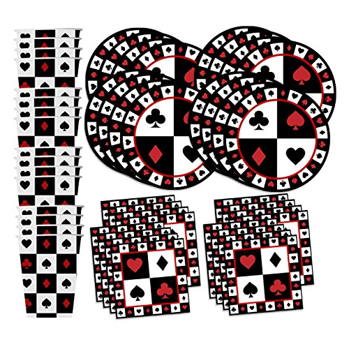 Casino Card Night Birthday Party Supplies Set Plates Napkins Cups Tableware Kit for 16