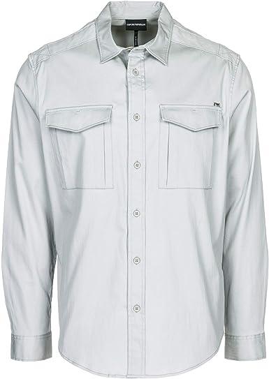 Emporio Armani Hombre Camisa Grigio Luna L: Amazon.es: Ropa y accesorios