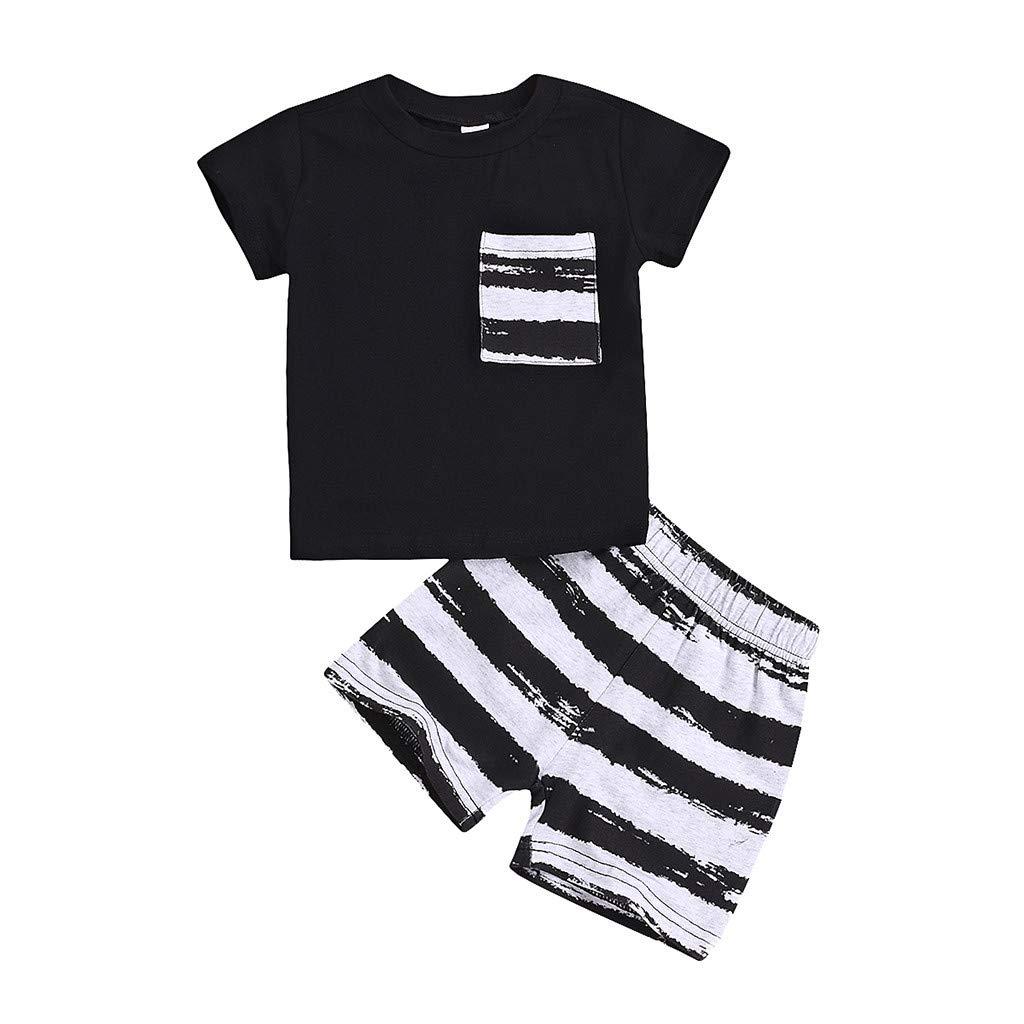 2 Pcs Sommer Säugling Baby Kurzarm Solide T-Shirt Tops + Gestreift Kurze Hose Set