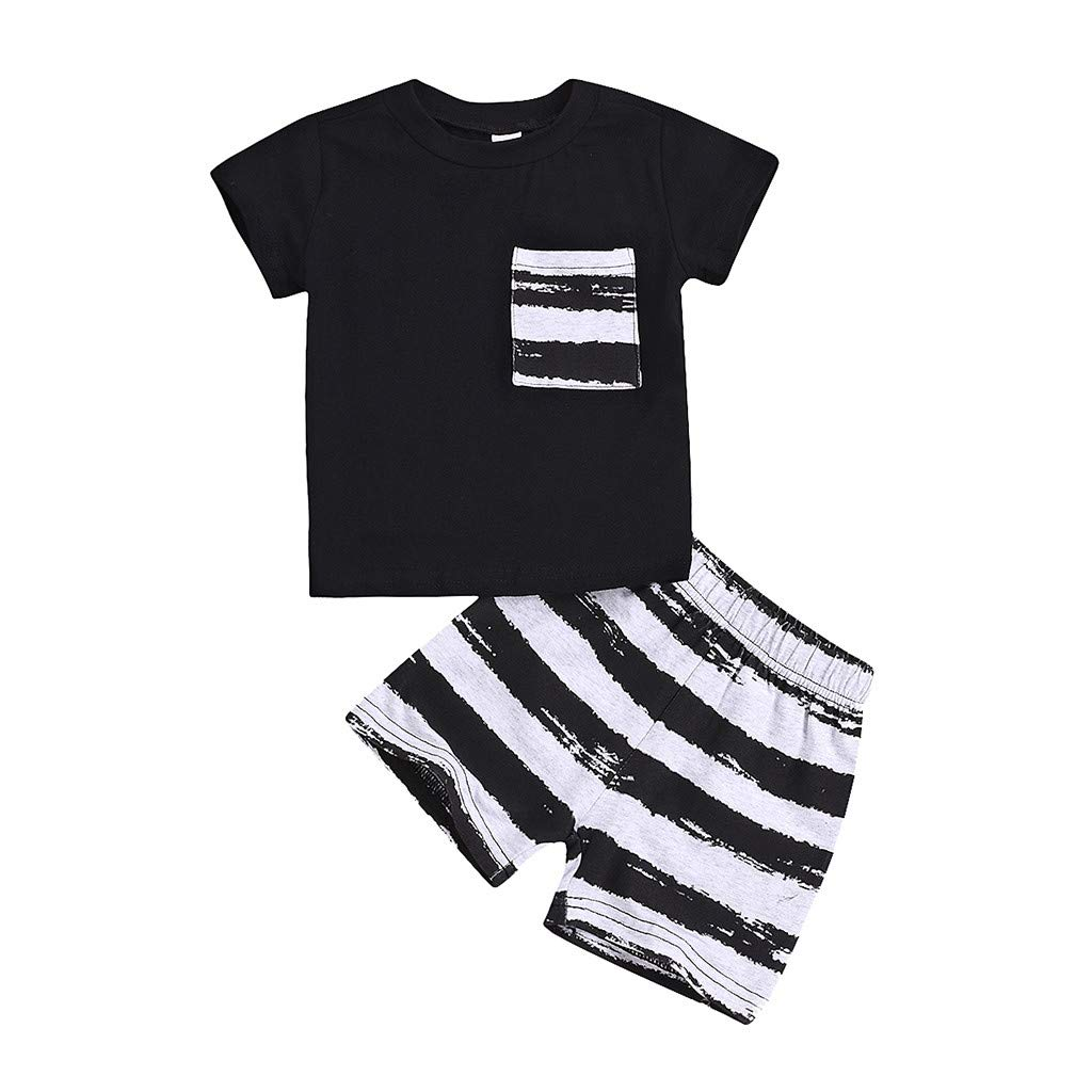NUWFOR Summer Infant Baby Short Sleeve Solid T-Shirt Tops+Striped Shorts Outfits Sets(Black,12-18Months)
