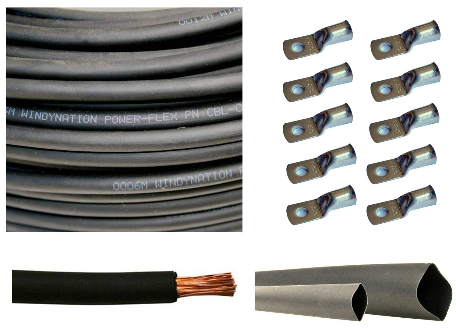 3 Feet Heat Shrink Tubing WNI 2//0 AWG 2//0 Gauge 20 Feet Black Battery Welding Pure Copper Ultra Flexible Cable 5pcs of 5//16 /& 5pcs 3//8 Copper Cable Lug Terminal Connectors