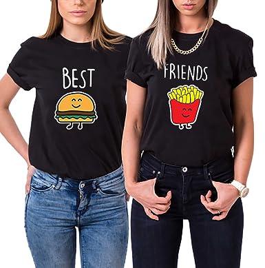 3ba0b4ae5 Couple s Shop Best Friends T-Shirts Cartoon Burger Fries Tees Teen Girls  Sisters Besties -