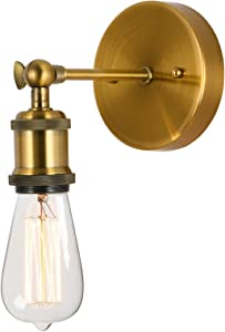 Popity home Vintage Edison 1-Light Adjustable Swing Arm Brass Gold Metal Wall Sconce, Industrial Wall Lamp with Mount Lighting Fixtures for Bathroom Bedroom Entry and Living Room