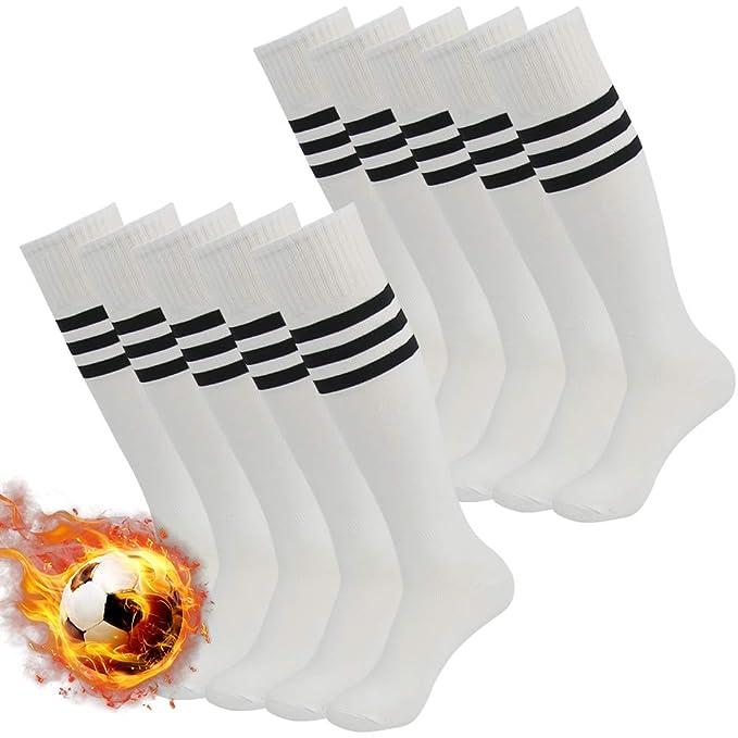 3street- Calcetines atléticos de fútbol con tres rayas,altos a la ...