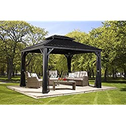 Sojag 500-7156980 Track No.77 Messina Hard Top Sun Shelter, 10' by 12', Charcoal