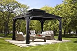 Gazebo Kits Best Deals - Sojag 500-6158267 2 Track No.77 Messina Hard Top Sun Shelter, 10' by 12', Charcoal