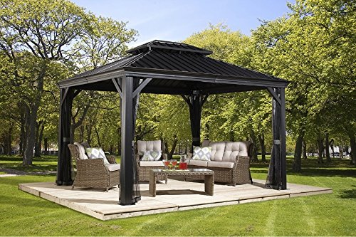 - Sojag 500-7156980 Track No.77 Messina Hard Top Sun Shelter, 10' by 12', Charcoal