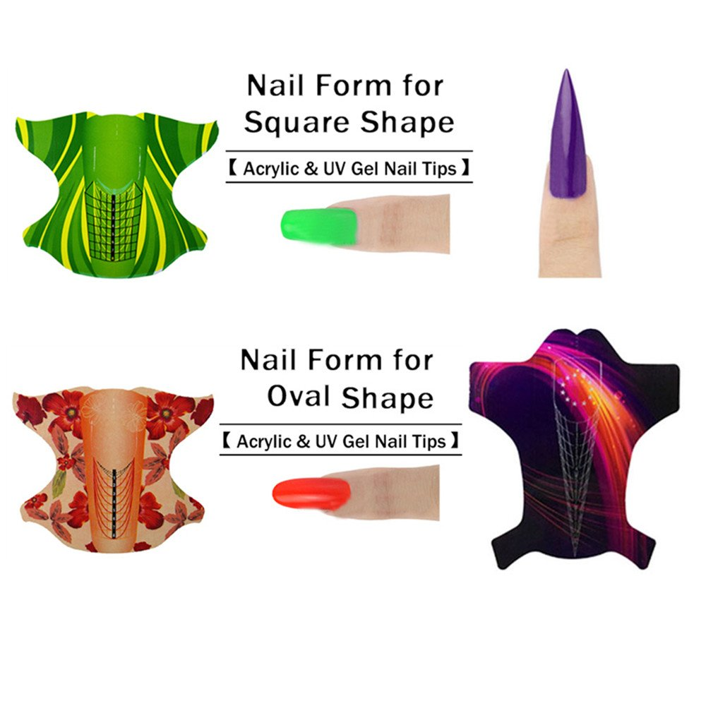 NICOLE DIARY 300pcs Nail Forms Sticker Self-adhesive Extension Guide Nail Art French Tips DIY Tool for Acrylic UV Gel