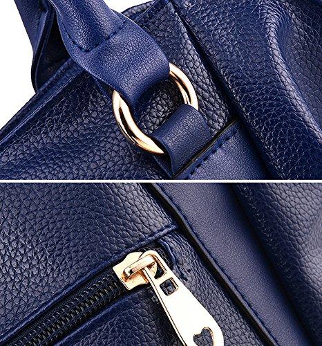 Bandoulière Sac Bleu Cuir Noir Sac PU à Sac en main Messenger Casual LATH tout PIN Souple Femme Fourre à xTnqwqI1