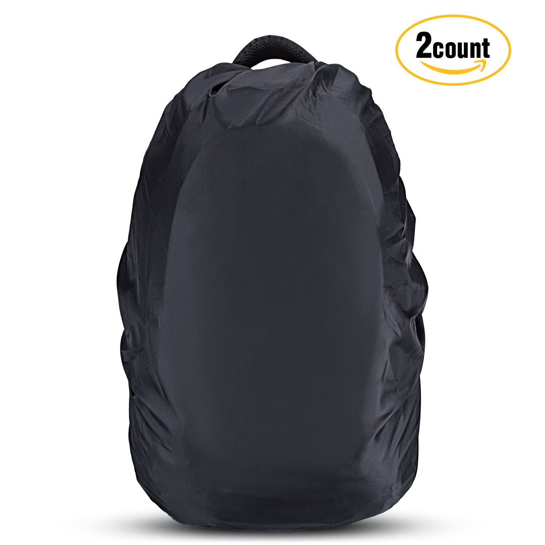 AGPTEK Waterproof Backpack Rain Cover, Pack of 2, Black(L Size)