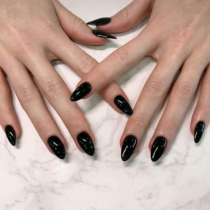 Jovono 24 uñas postizas de colores sólidos, color negro, uñas ...