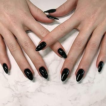 Jovono 24 uñas postizas de colores sólidos, color negro ...