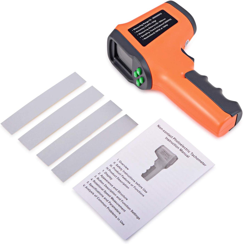 Ehdis Digital LCD l/áser foto tac/ómetro sin contacto RPM metro Velocidad del motor Velocidad Tipo de pistola Estilo de superficie Velocidad Tach/ímetro Speedo