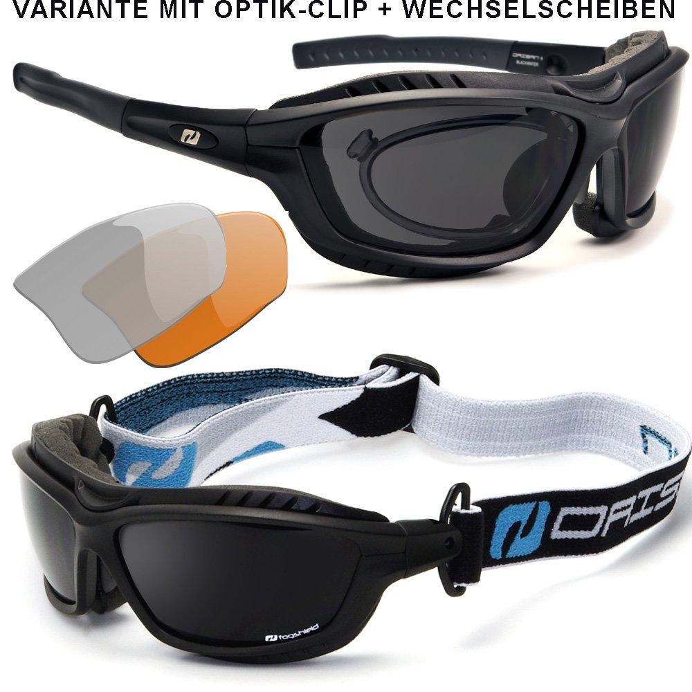Daisan Sportbrille mit Band und Windschutz für Brillenträger