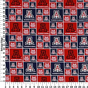 university of arizona cotton fabric sold by the yard. Black Bedroom Furniture Sets. Home Design Ideas