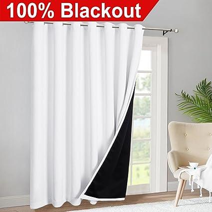 RYB HOME Sliding Glass Door 100% Blackout Curtains Extra Wide Light Block  Room Darkening Window