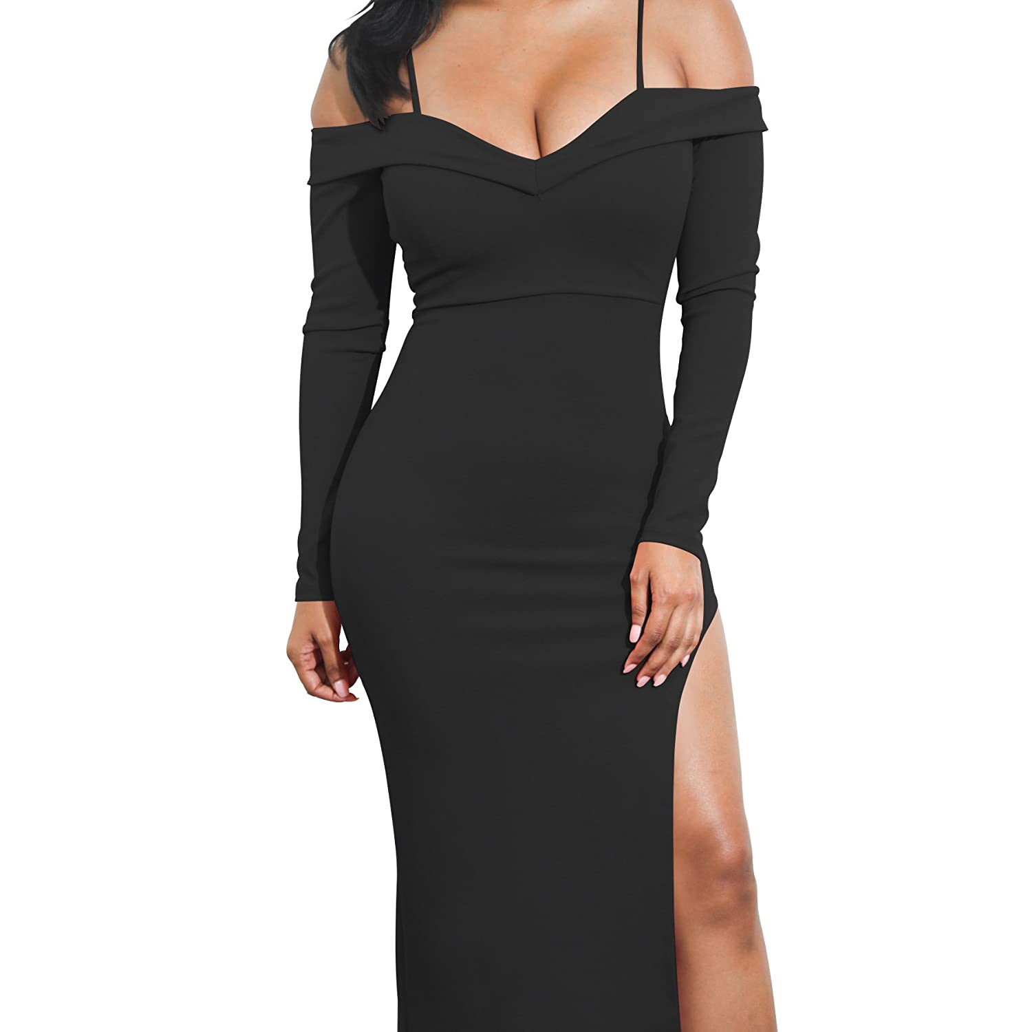 d759b5c2f05 Women Sexy Off Shoulder Long Sleeve Side Split Bodycon Cocktail Party Midi  Dress at Amazon Women s Clothing store