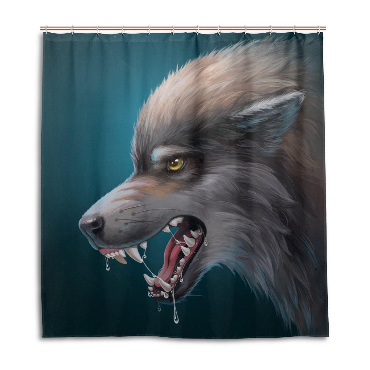 LEISISI Custom Draw Animals Waterproof Bathroom Fabric Shower Curtain 66'' x 72''