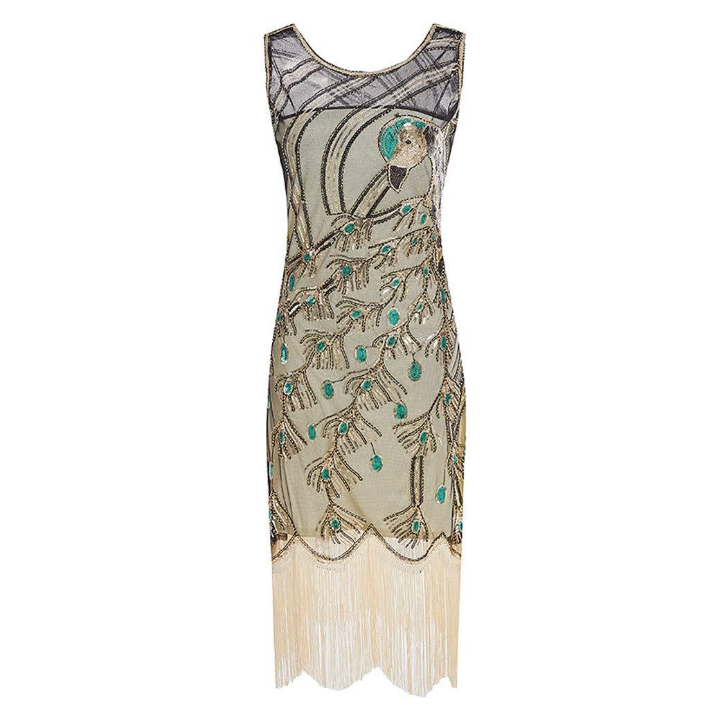 Women's Sequined Dresses 1920s Sequins Beads Sleeveless Long Tassel Inserts Dress Elegant Evening Dress (XL, Gold)
