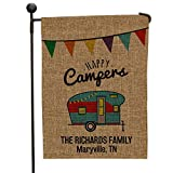 Cheap GiftsForYouNow Happy Camper Personalized Burlap Garden Flag, 18″ H x 12.5″ W