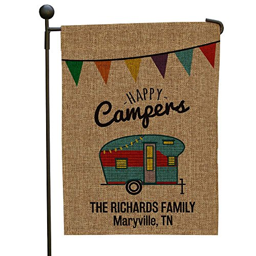 GiftsForYouNow Happy Camper Personalized Burlap Garden Flag, 18
