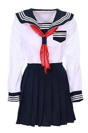 grosses soldes sensation de confort divers styles JapanAttitude Tenue écolière Japonaise Blanche et Bleu foncé ...