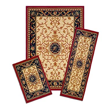 Achim Home Furnishings Capri 3-Piece Rug Set, Wrought Iron Medallion