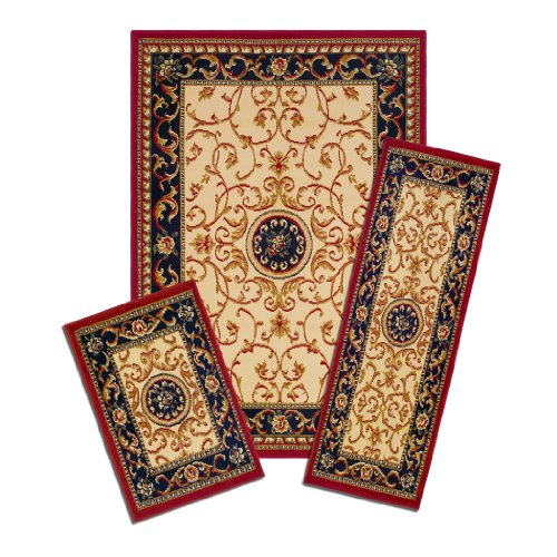 - Achim Home Furnishings Capri 3-Piece Rug Set, Wrought Iron Medallion