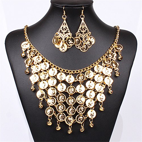 [SDLM Womens Unique Bohemian Jewelry Chunky Gold Plated Layered Coin Necklace Earring Set] (Fantasy Life Angel Costume)
