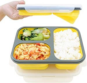 fancyfree Collapsible Silicone Benton Container, Leakproof Lunch Box with 3 Compartments, BPA Free Safe Food Storage Organizer (Yellow)