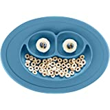 ez pz Mini Mat (Blue) - 100% Silicone Suction Plate with Built-in Placemat for Infants + Toddlers - First Foods + Self-Feeding - Comes with a Reusable Travel Bag, One Size (PCMMB003)