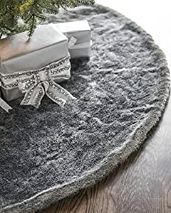 Balsam Hill Lodge Faux Fur Tree Skirt, 48 inches, Smoke Grey