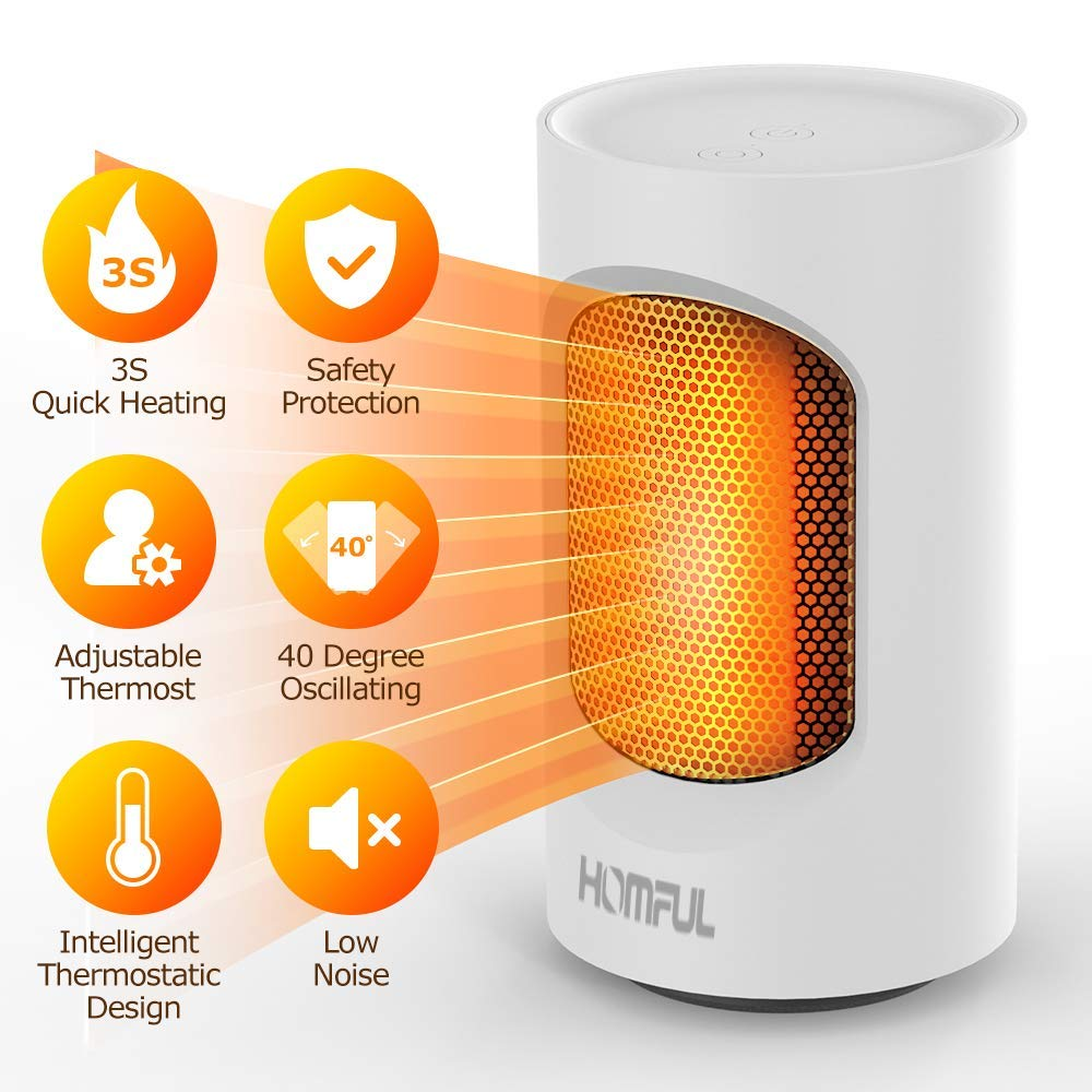 Personal Space Heater, HOMFUL Portable 600W Mini Oscillating Heater, 3s Electric Ceramic Personal Heater with Tip Over Flame Proof Protection, Hot Mode Natural Wind Mode, Perfect for Office Home