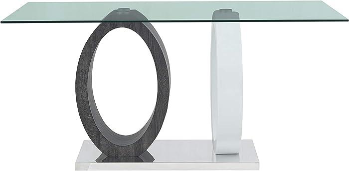Global Furniture USA Oval Pedestal Base Dining Table, White/Grey