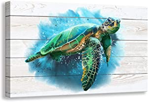 Kas Home Bathroom Canvas Wall Art, Sea Turtle Wall Decor Giclee Rustic Painting Ocean Beach Canvas Prints Framed Artwork for Living Room Bedroom Office Pictures Posters (16 X 12 inch, Sea Turtle - A)