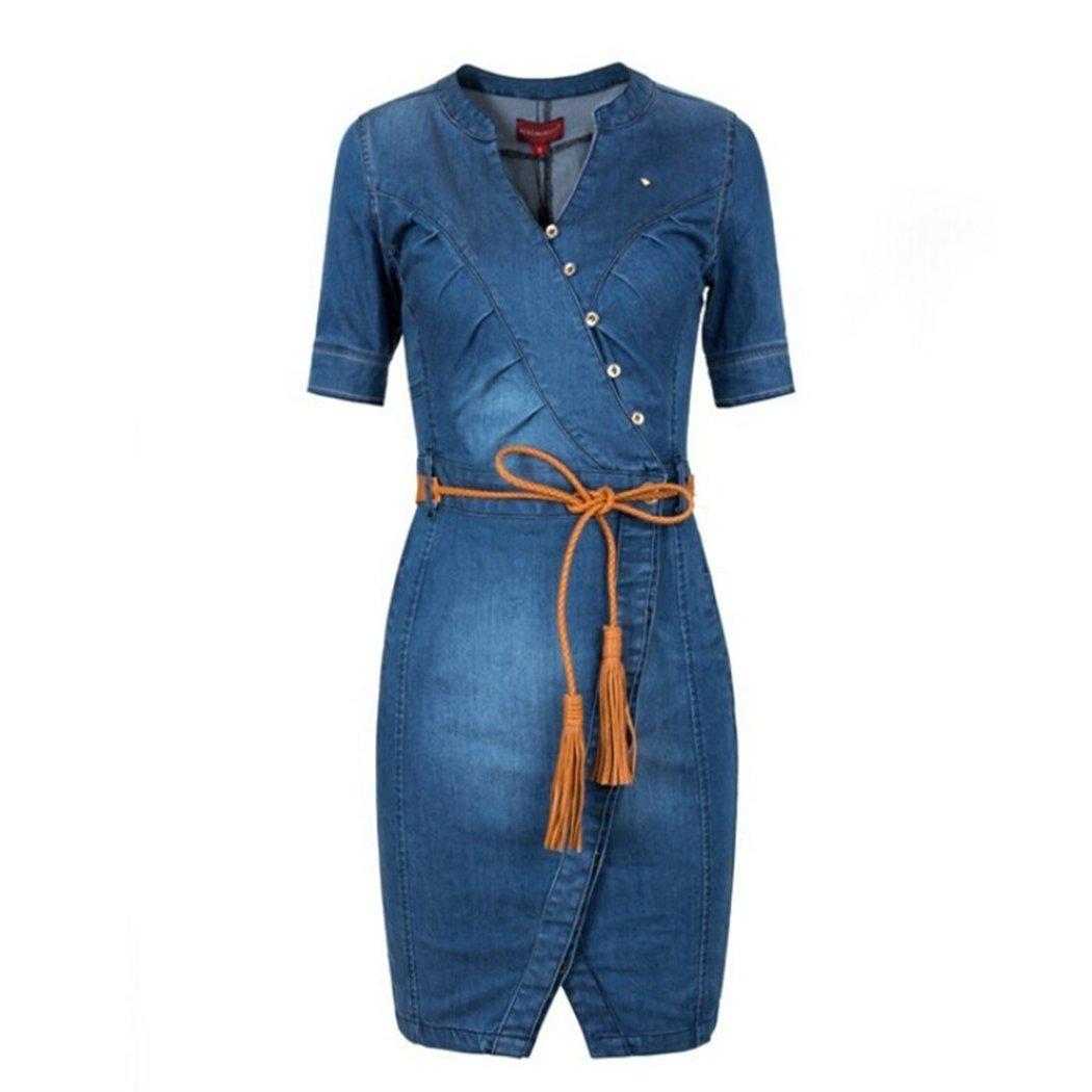 d988b68f035 HANMAX Womens  Short Sleeve V Neck Slim Fit Casual Vintage Elegant Midi Denim  Summer Dress Jeans Dresses