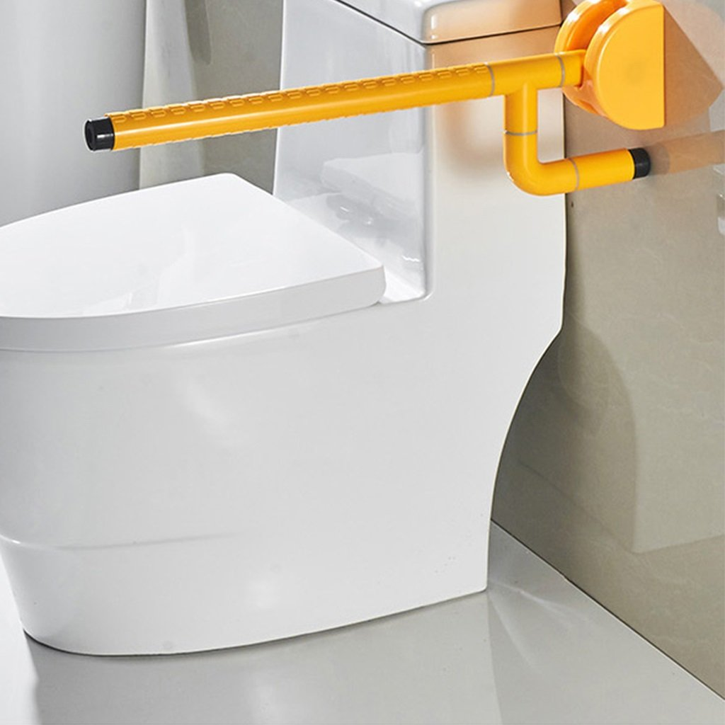 Handrails Folding Anti-slip Toilet Armchair Handicapped Safe For The Elderly Handicapped Wall-mounted Bathroom Upstairs Toilet Booster (white And Yellow) (Color : Yellow) by Hw Ⓡ Toilet handrails (Image #3)